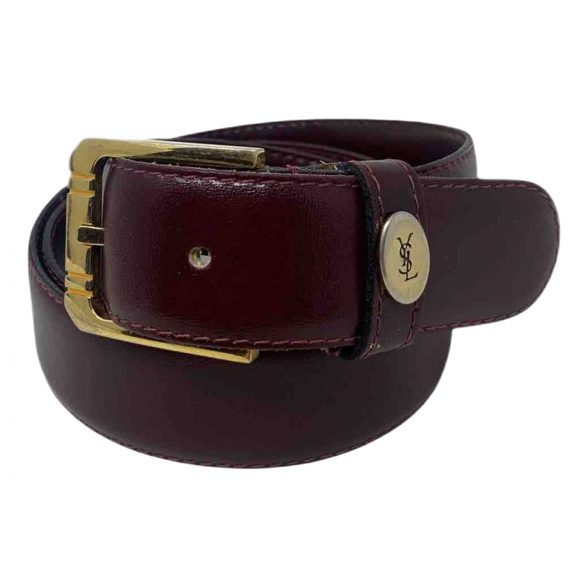 Yves Saint Laurent N Burgundy Leather belt for Women 80 cm