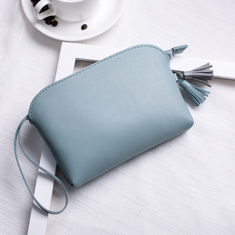 Women Pure Color PU Leather 5.5inch Phone Bag Coin Bag Card Holder Purse