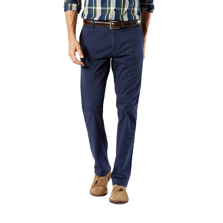 Dockers Washed Khaki Slim Tapered Fit Pants, 36 29, Blue