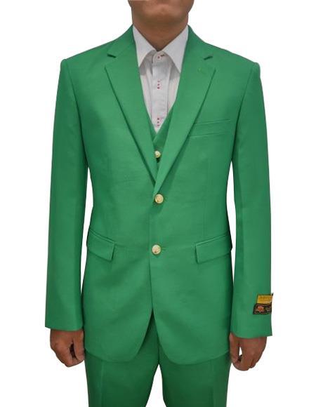 Alberto Nardoni Mens Vested 3 Piece Suit Augusta Green