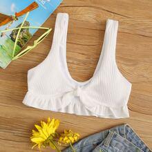 Texturiertes Bikini Top mit Knoten vorn und Rueschenbesatz