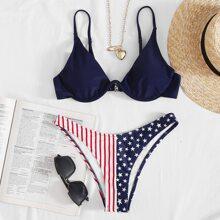 American Flag Underwire High-Leg Bikini Swimsuit