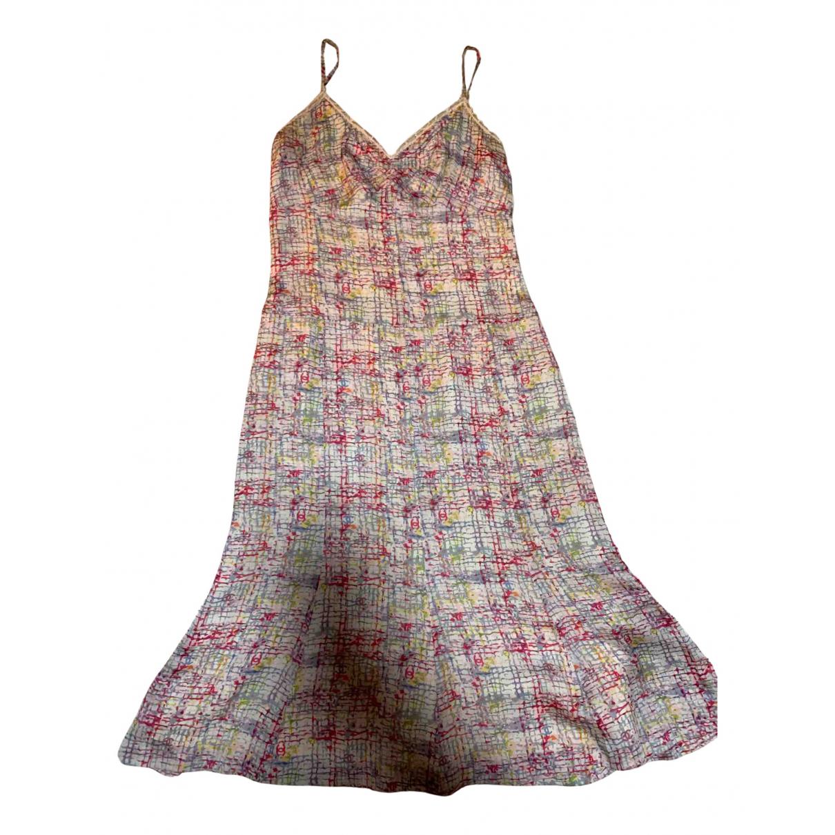Chanel - Robe   pour femme en soie - rose