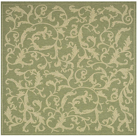 Courtyard Scrolls Indoor/Outdoor Square Rugs, One Size , Green