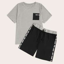 Men Letter Tape Trim Pajama Set