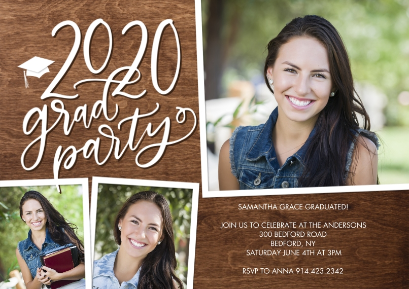 Graduation Invitations 5x7 Cards, Premium Cardstock 120lb with Elegant Corners, Card & Stationery -2020 Grad Party Gold Script by Tumbalina