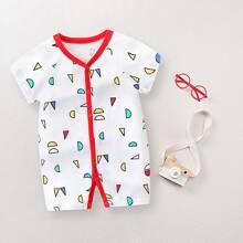 Baby Girl Contrast Binding Geo Print Jumpsuit