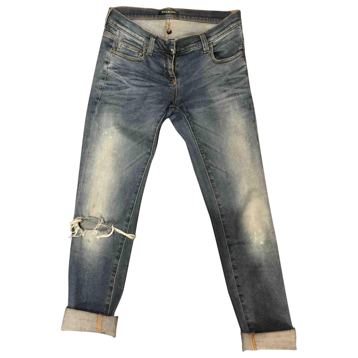 Balmain \N Blue Cotton Jeans for Men 38 FR