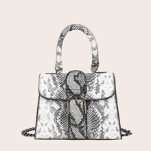 Buckle Decor Snakeskin Flap Chain Satchel Bag