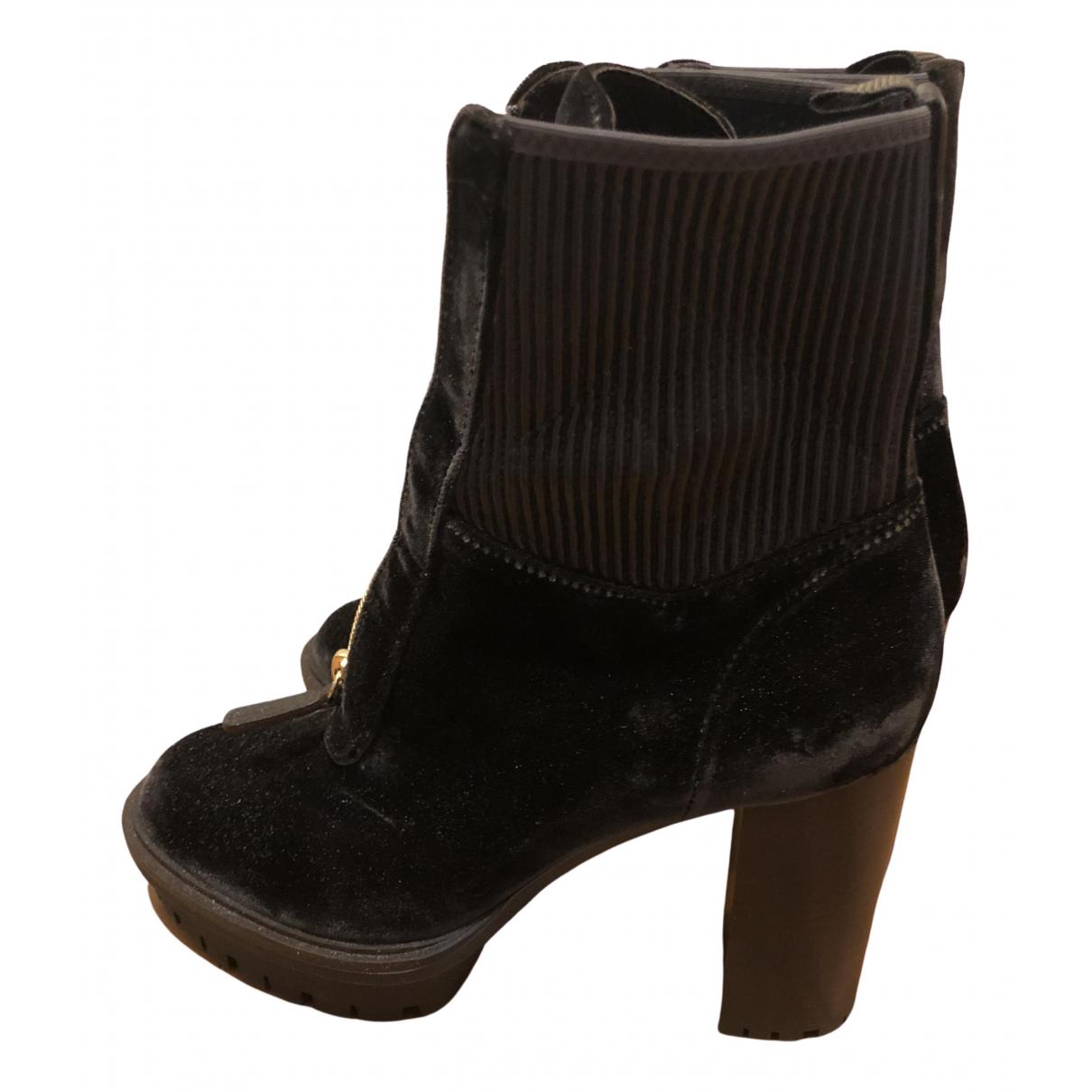 Gianvito Rossi \N Brown Velvet Ankle boots for Women 41 EU