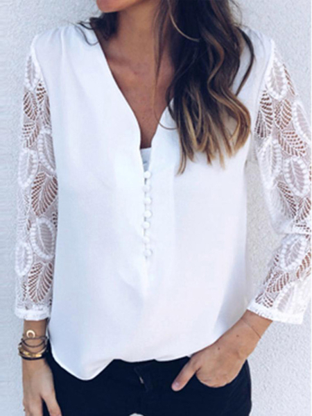 YOINS White Lace Patchwork Design V-neck Long Sleeves Blouse