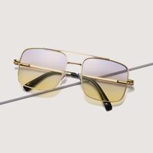 Gradient Lens Top Bar Metal Frame Sunglasses