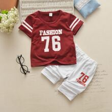 Toddler Boys Varsity Stripe Letter Graphic Tee With Shorts