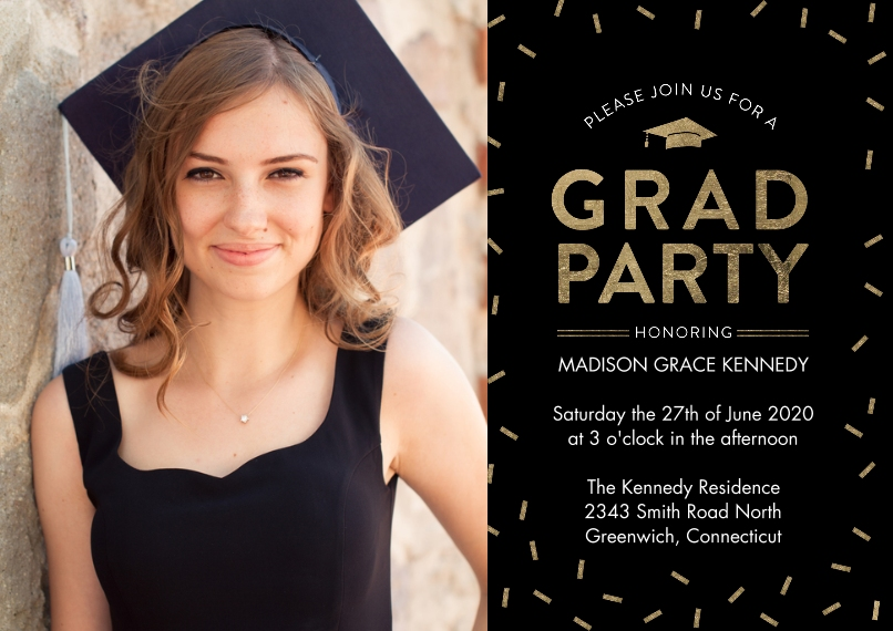 Graduation Invitations 5x7 Cards, Standard Cardstock 85lb, Card & Stationery -Grad Invite Sparkling Confetti by Tumbalina