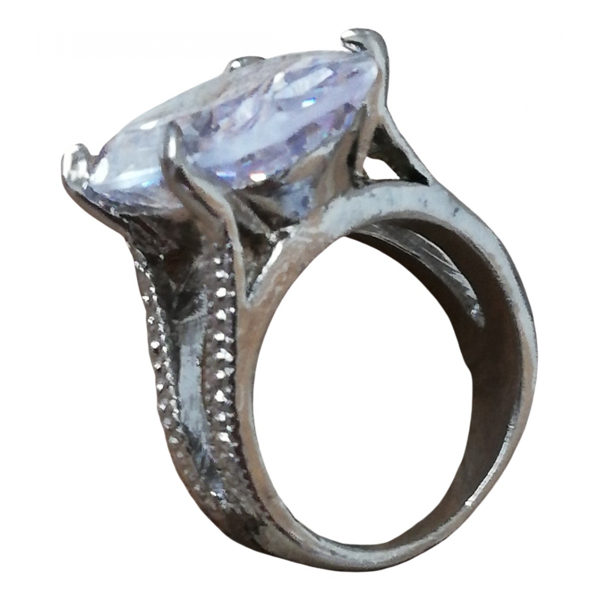 Non Signé / Unsigned Bagues Cocktails Silver Metal ring for Women 47 MM