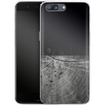 OnePlus 5 Silikon Handyhuelle - Wood Grain Slice von caseable Designs