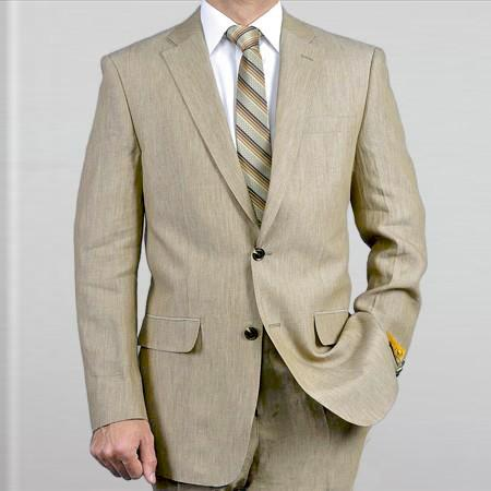 Elegant and 2Btn Notch Lapel Real Linen Suit Spring/Summer Khaki