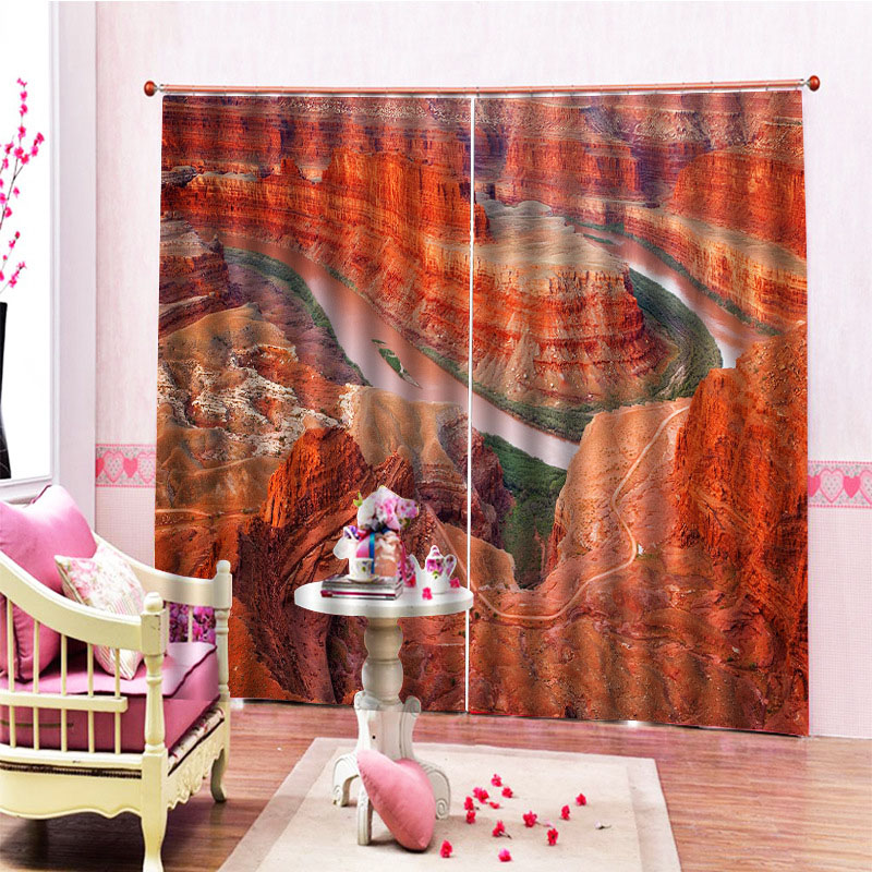 Beddinginn Modern 3D Mountain Ultraviolet-Proof Curtains/Window Screens