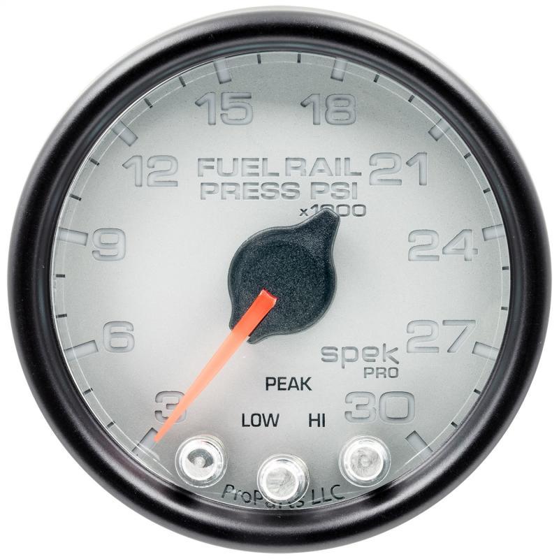 AutoMeter GAUGE; RAIL PRESS; 2 1/16in.; 30KPSI; STEPPER MOTOR W/PEAK/WARN; SLVR/BLK; SPEK