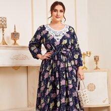 Plus Contrast Lace Self Tie Ruffle Hem Floral Dress