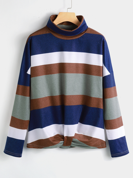 Yoins Multicolor Striped Twist Design High Neck Long Sleeves Tee
