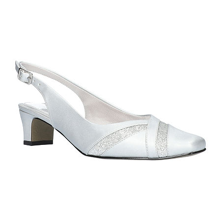 Easy Street Womens Ginny Pumps Spike Heel, 10 Wide, Silver