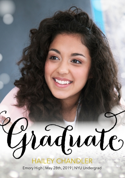 Graduation Announcements Flat Glossy Photo Paper Cards with Envelopes, 5x7, Card & Stationery -Bokeh Grad by Posh Paper
