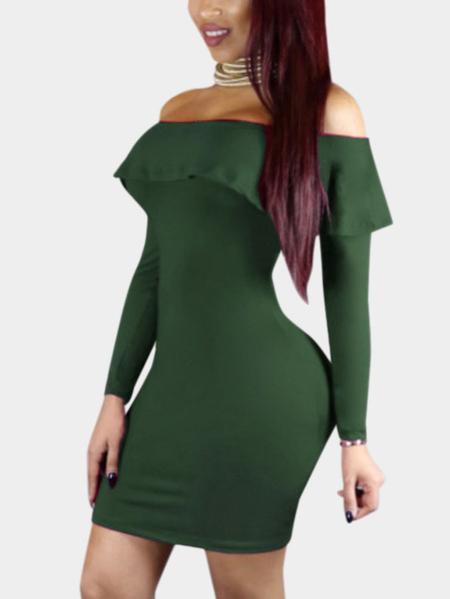 Yoins Army Green Sexy Off Shoulder Flouncy Hem Bodycon Party Dress