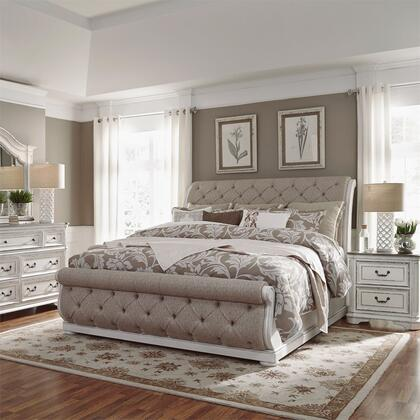 Liberty Furniture 244-BR-KUSLDMN 4 Piece Bedroom Set with King Size Upholstered Sleigh Bed  Dresser and Mirror  Nightstand in Antique White
