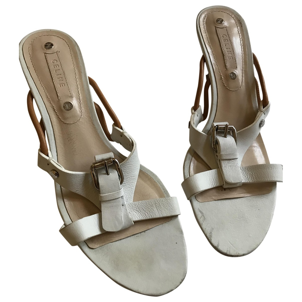 Celine \N White Leather Sandals for Women 37.5 EU