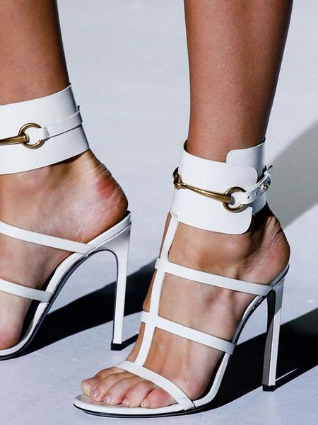 Milanoo High Heel Sandals Womens Metal T-strap Open Toe Slingback Stiletto Heel Sandals