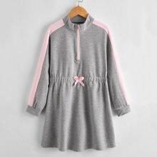 Girls Side Seam Half Zip Bow Detail Sweatshirt Dress