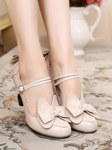 Milanoo Sweet Lolita Shoes Bow Strappy PU Puppy Heel Lolita Footwear