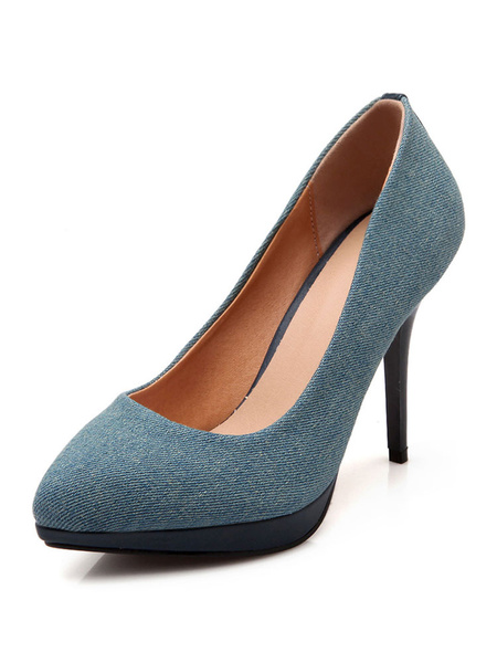 Milanoo Blue High Heels Denim Pointed Toe Stiletto Heel Slip On Pumps Women Shoes
