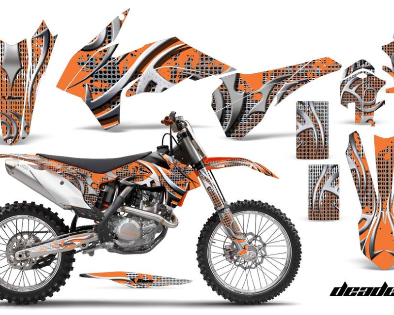 AMR Racing Graphics MX-KTM-C9-13-16-DN O Kit Decal Wrap For KTM SX/SXF/XCF/EXC/TC-F/XC/XCF-W 2013-2016áDEADEN ORANGE