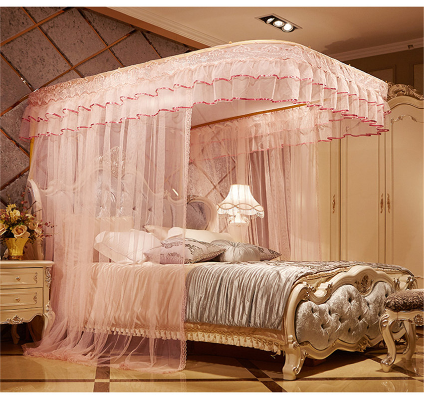 Light Pink U-Guide Rail Stainless Steel Bracket Polyester Retractable Bed Nets