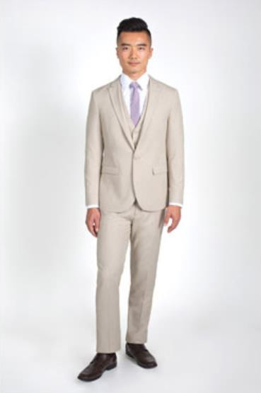 Mens 2 Button Heathered Tan Slim Fit Suit with Vest