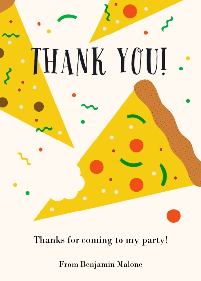 Kids Birthday Thank You Mail-for-Me Premium 5x7 Folded Card , Card & Stationery -Pizza Party Thank You