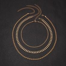 3 piezas collar de hombres con cadena