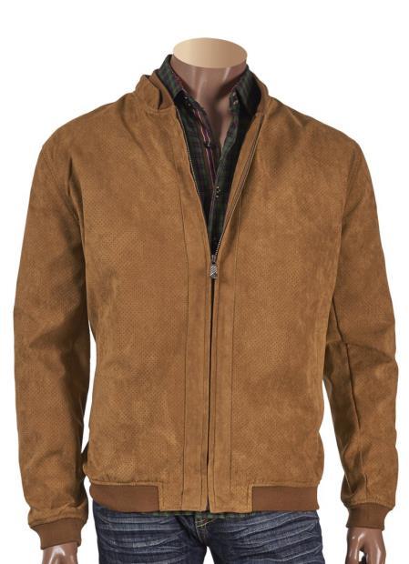 Men's Long Sleeve Brown Suede Perforated Short Jacket