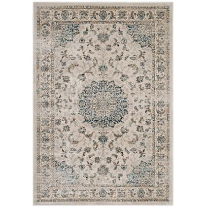 Atara Collection R-1102A-58 Distressed Vintage Persian Medallion 5x8 Area Rug in Teal and Beige