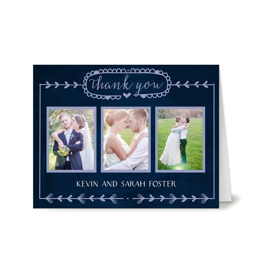 20 Pack of Gartner Studios® Personalized Casual Border Wedding Thank You Card in Navy Blue | 4.25
