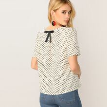 Heart Print Bow Applique Short Sleeve Top