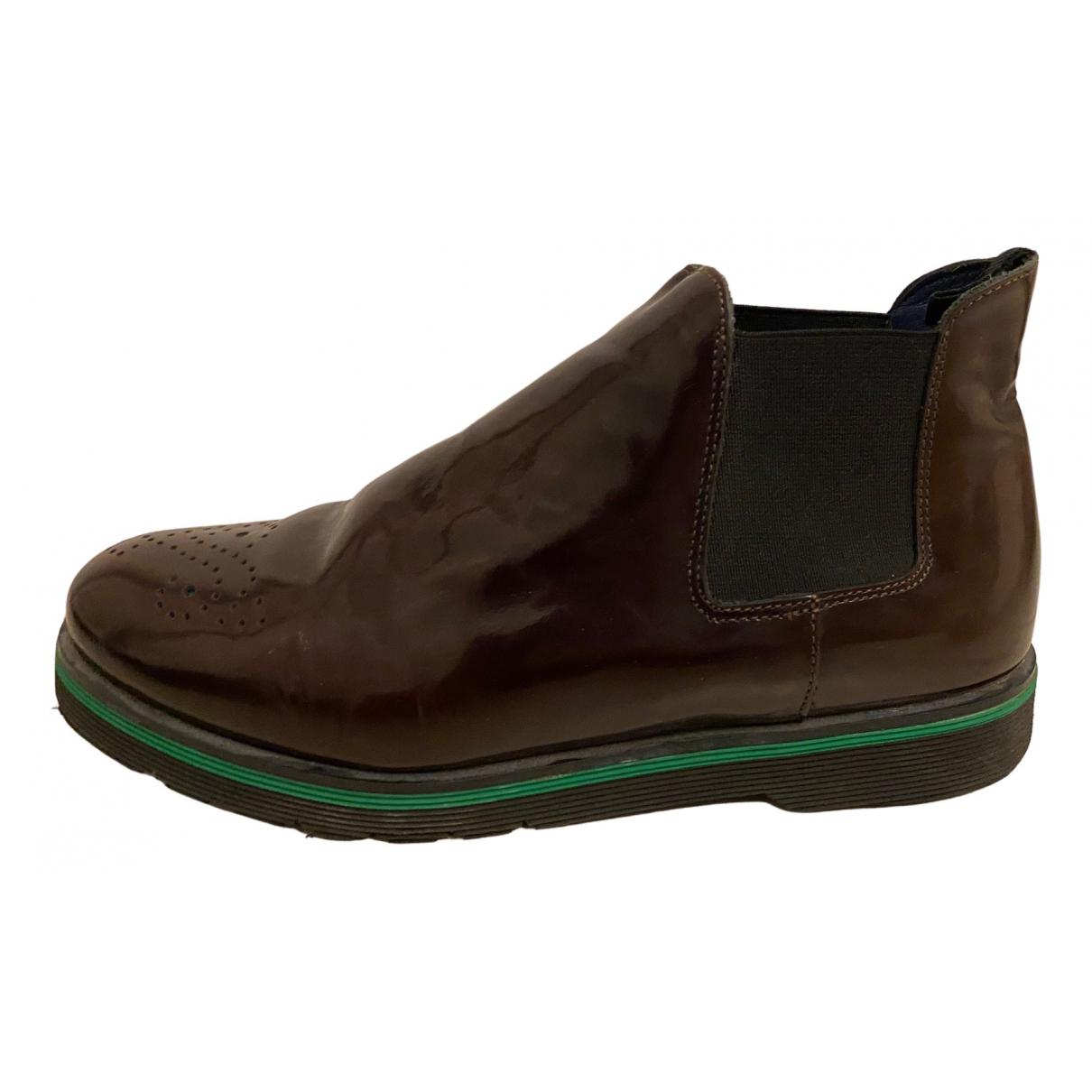 Pollini - Boots   pour femme en cuir - marron