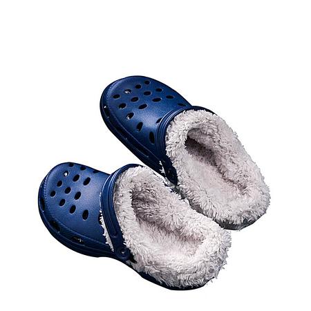 Yoins Dark Blue Clog Winter Antiskid Warm Indoor Casual House Slippers