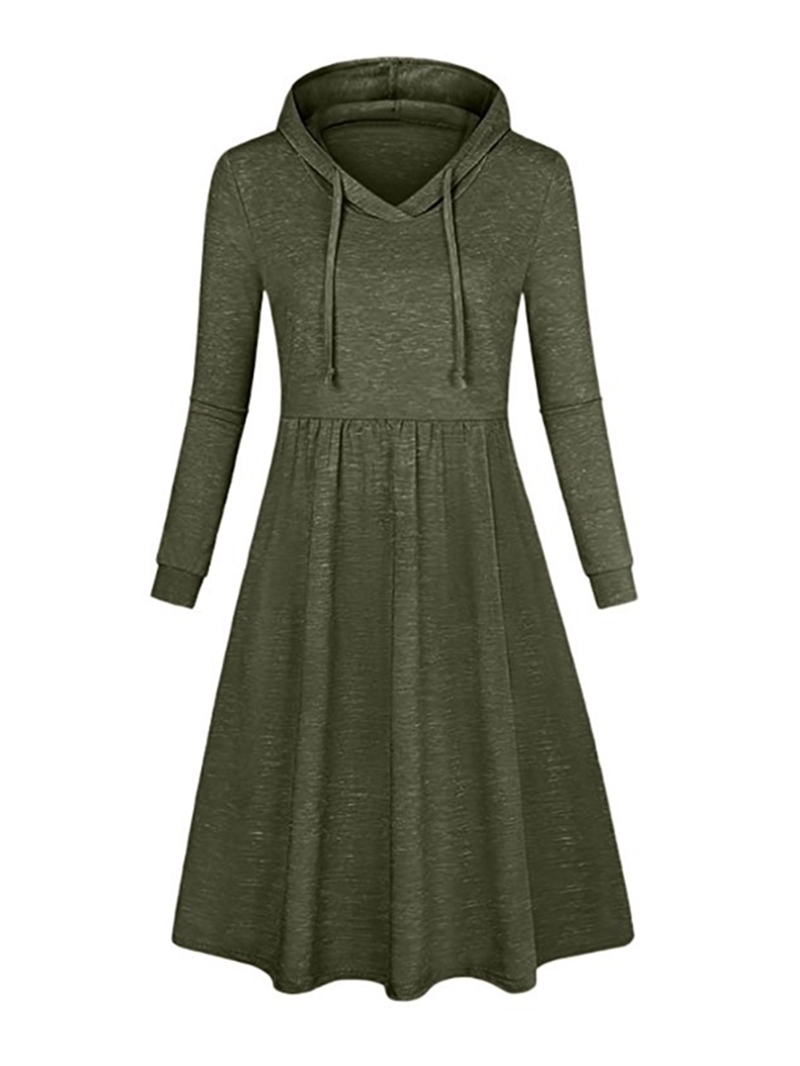 Ericdress Long Sleeve Hooded Knee-Length Trumpet Casual Dress