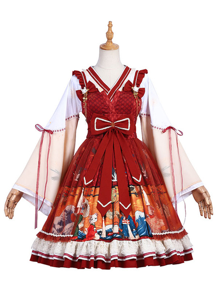 Milanoo Chinese Style Lolita OP Dress Ukiyo Cat Print Long Sleeves Lolita One Piece Dresses