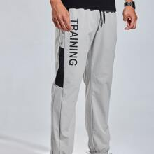 Men Letter Graphic Drawstring Waist Sport Pants