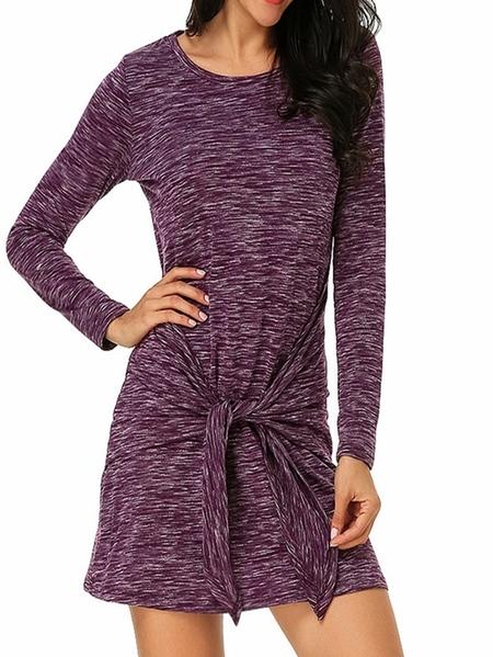 Yoins Auxo Tie-up Design Scoop Neck Long Sleeves Dress