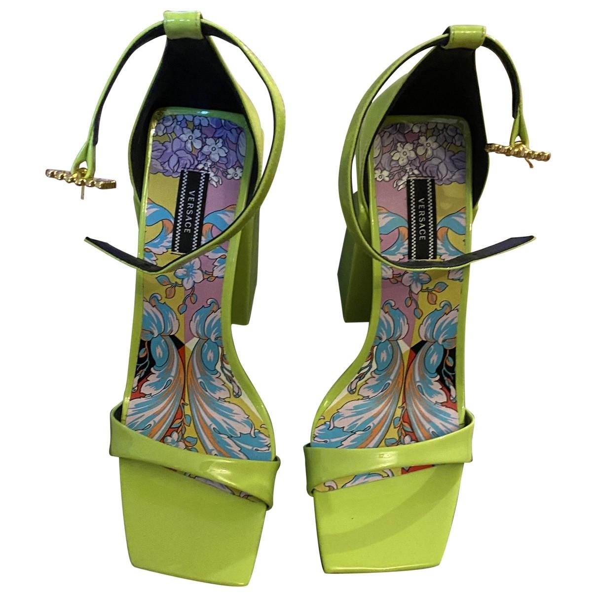 Versace - Sandales   pour femme en cuir - vert